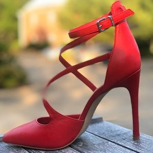 Pointed Toe Red Strappy Pumps Size 7
